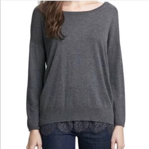Joie Hilano Grey Lace Sweater Size Small